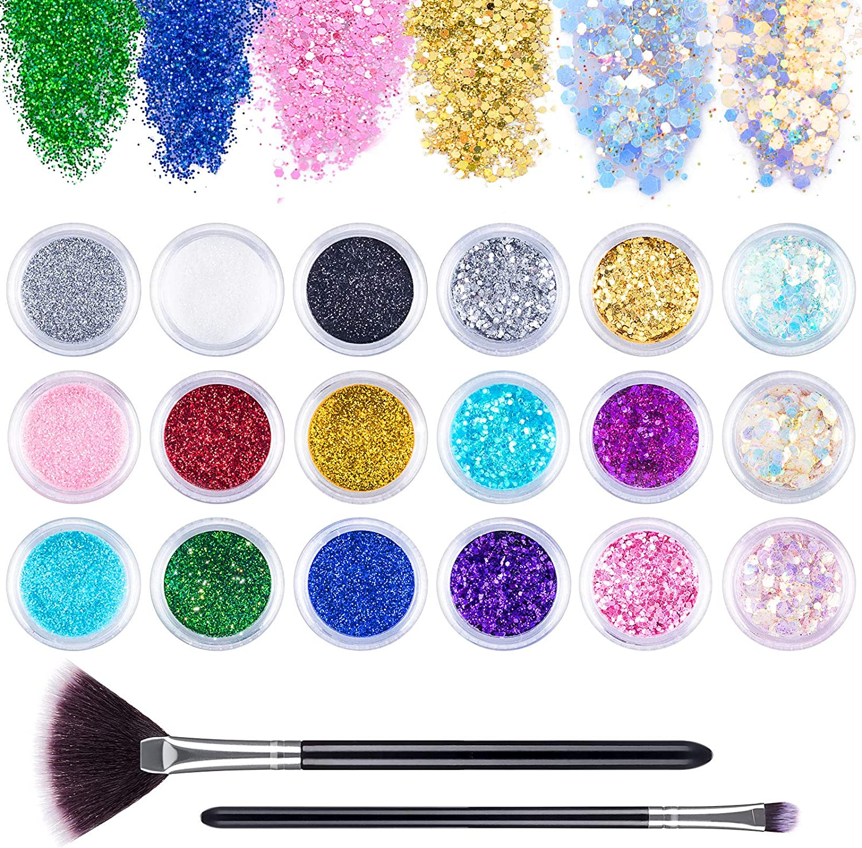 MELLIEX 18 Botes Purpurina Polvo, Glitter Flakes Brillantes para Uñas Lentejuelas Brillos Decoración para Cara, Nail Art, Cabello y Cuerpo(Con Cepillo)