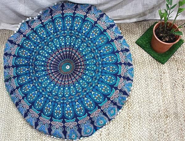 THE ART BOX Mandala Cushion Cover Round Large Hippie Mandala Floor Pillow Cover Cushion Cover Pouf Cover Round Bohemian Yoga Decor Floor Cushion Case 32 Blue