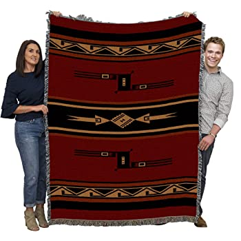 Pure Country Weavers Woven Tapestry Camp Throw with Fringe Cotton USA 72x54 8047-T Whirlwind Fire Southwest Blanket