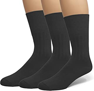 EMEM Apparel Men's Diabetic Dress Crew Cotton Socks | Non-Binding Loose Top | Seamless Toe | 3-Pair | Big and Tall Available
