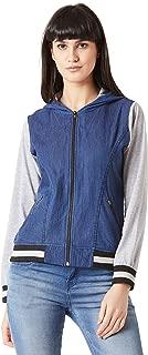 Miss Chase Women's Blue Hooded Denim Bomber Jacket