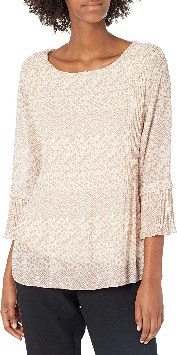 M Made in Italy Women's Floral Accordion Pleated Blouse