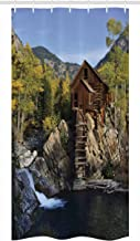 Ambesonne Landscape Stall Shower Curtain, Secluded Wooden Cabin in Woods River Waterfall Forest Mill Mountain Pine Trees, Fabric Bathroom Decor Set with Hooks, 36 W x 72 L inches, Multicolor