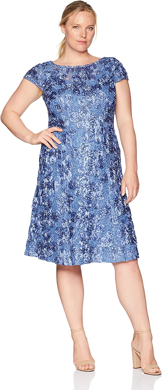 Alex Evenings Womens Plus Size Tea Length pinktte Dress with Sequin Detail Mother of The Bride Dress
