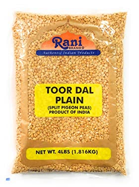 Rani Toor Dal (Split Pigeon Peas) 4lb (64oz) ~ All Natural   Gluten Friendly   NON-GMO   Vegan   Indian Origin
