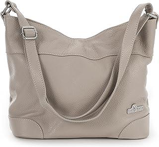 LIATALIA Womens Leather Handbag - Medium Size Hobo Shoulder Bag - Italian Leather - JANE