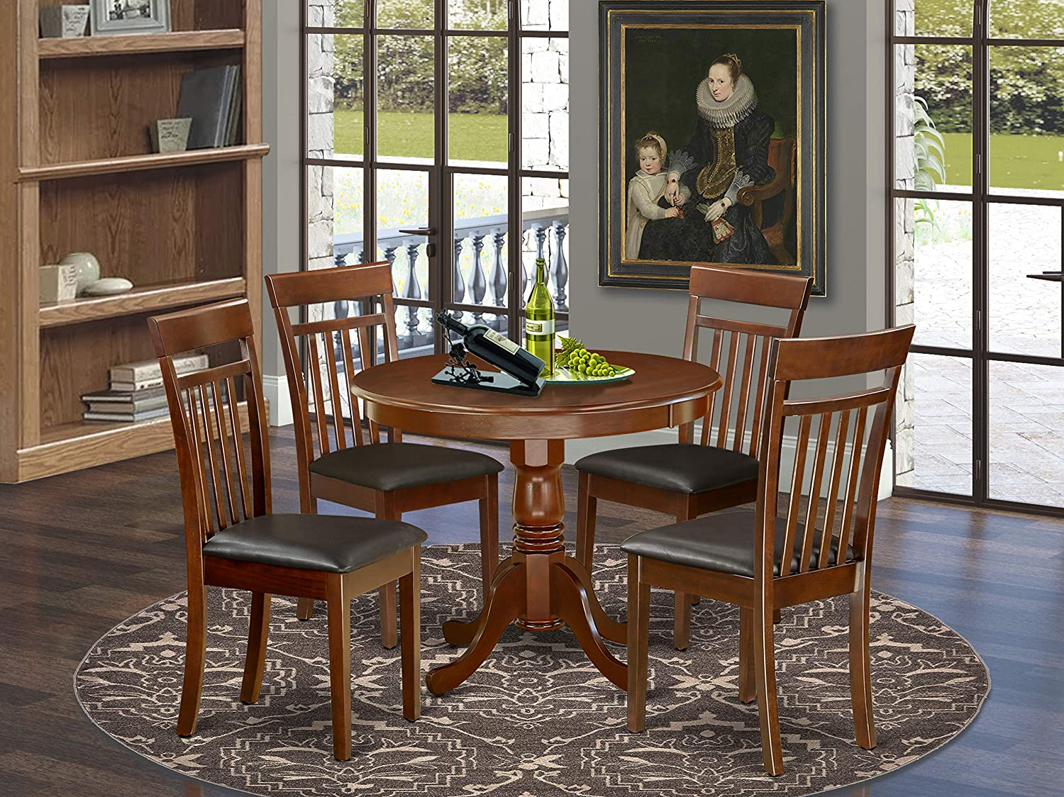 East West Furniture ANCA5-MAH-LC Finally resale start cheap Kitchen Set- 4 Exc Table Dining