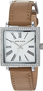 Anne Klein AK/2939SVTN Reloj de pulsera para mujer con cristales de Swarovski en tono plateado y correa de piel café claro