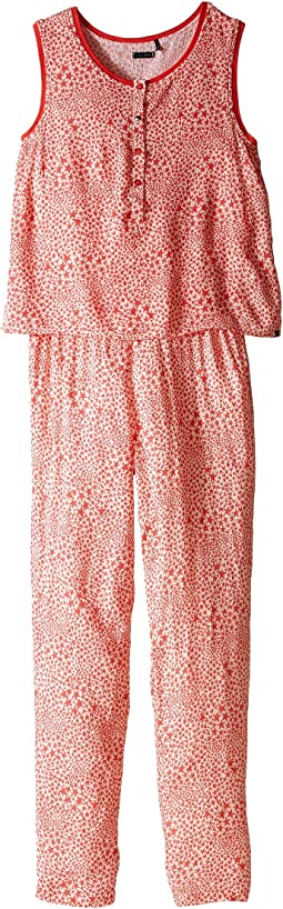 Sleeveless Printed Jumpsuit with 2-in-1 Look/Button Front/Loose Pants Fit & Elastic Waistband (Little Kids/Big Kids)