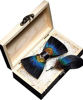 JEMYGINS Handgemacht Feder Fliege Mit Geschenkbox Set für Herren