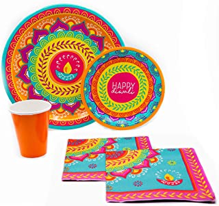 Colorful Indian Diwali Tableware Pack! Disposable Paper Plates, Napkins and Cups Set for 16