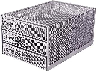 Exerz EX3205 Clasificador de Papel con 3 Cajones de Malla de Alambre/Organizador Multifuncional para el Escritorio - Plata