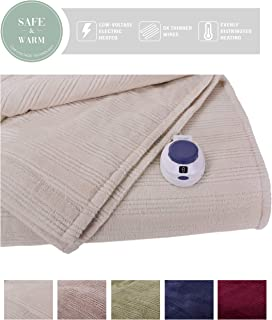 SoftHeat by Perfect Fit | Ultra Soft Plush Electric Heated Warming Blanket with Safe & Warm Low-Voltage Technology (Twin, Natural)