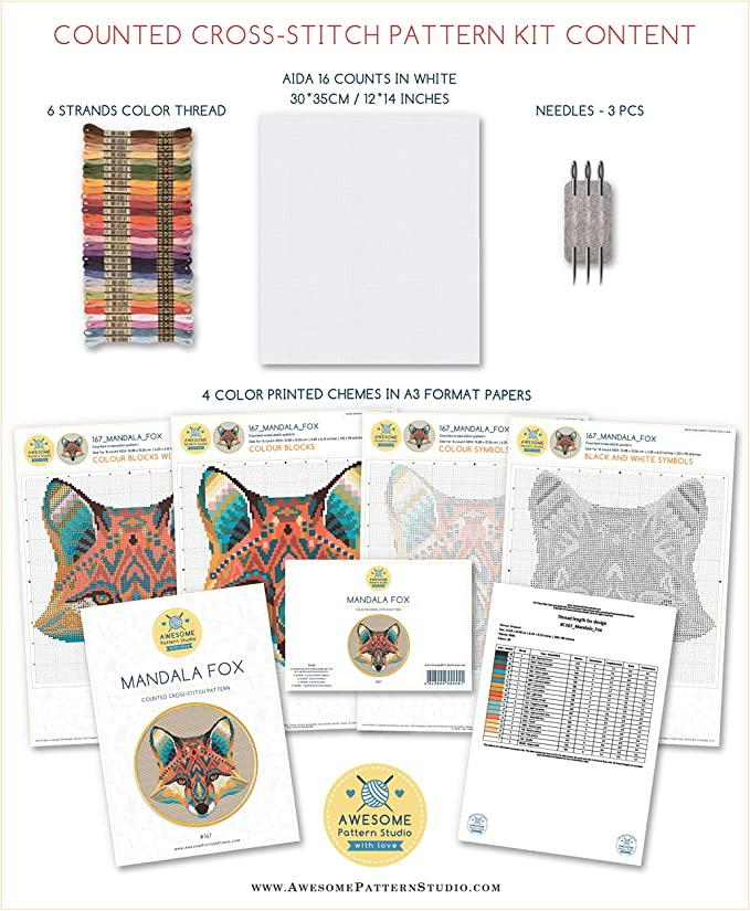 Fabrick and 4 Printed Color Schemes Inside Needles Threads Embroidery Pattern Kit Spiderman K710 Counted Cross Stitch KIT#2