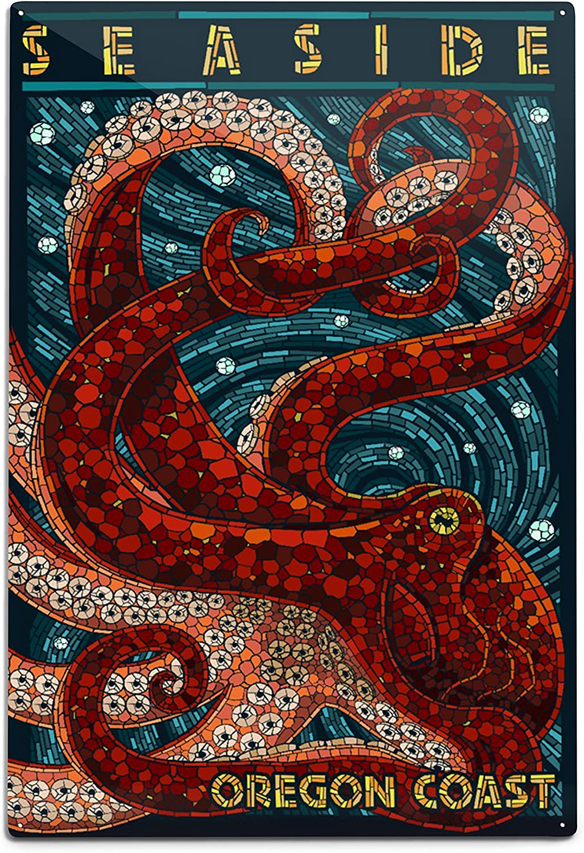Lantern Press Seaside Oregon Coast Max 50% OFF Alum Octopus Popular overseas Mosaic 12x18