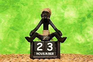 G6 Collection Handmade Wooden Primitive Tribal Statue Calendar Removable Blocks Sculpture Tiki Bar Handcrafted Unique Gift Decorative Decor Accent Figurine Decoration Hand Carved Primitive Calendar