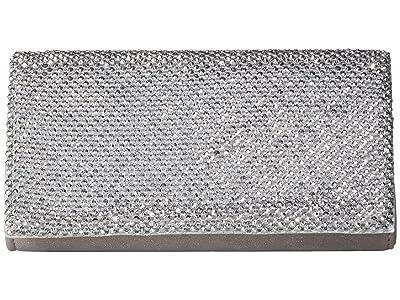 Jessica McClintock Luisa Flap Clutch (Silver) Handbags