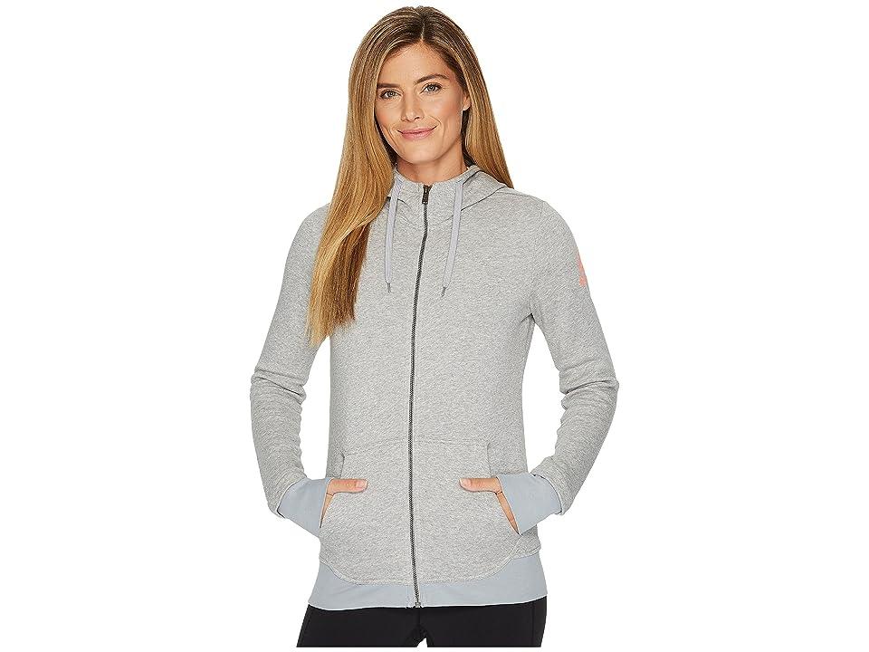 Reebok Fleece Full Zip Hoodie (Medium Heather Grey) Women