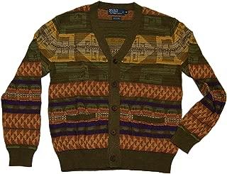 Polo Mens Cashmere Southwestern Cardigan Sweater Green Orange Small