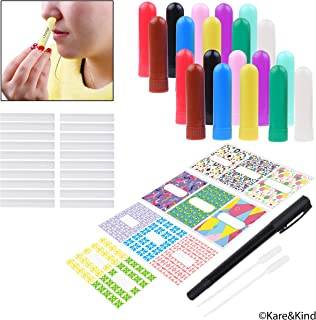 Kare & Kind Nasal Inhaler Tubes - Kit contains: 20 empty nasal inhaler tubes (with wicks) in 10 different colors, 20 extra wicks, 1 opening tool, 44 writable stickers, 2 mini droppers and 1 pen