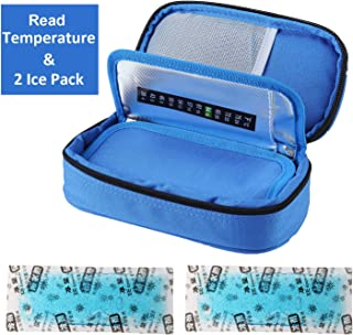 Temperature Display Insulin Cooler Travel Case with Ice Chill Packs Medical Cooler Bag..