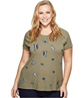 Lucky Brand Plus Size Embroidered Butterfly Tee