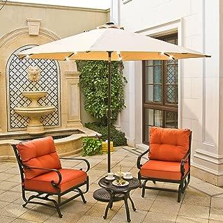 Aok Garden 10ft LED Lighted Patio Market Umbrella Outdoor Solar Powered Table Umbrella Parasol Aluminum Umbrella for Beach Garden Deck Backyard Pool
