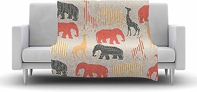 Kess InHouse Art Love Passion Lion Blue Brown Fleece Throw Blanket 60 by 50