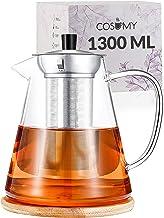 Cosumy Dzbanek do herbaty z sitkiem ze stali nierdzewnej 1300 ml ze szkła - z podstawką - można myć w zmywarce - odporny n...