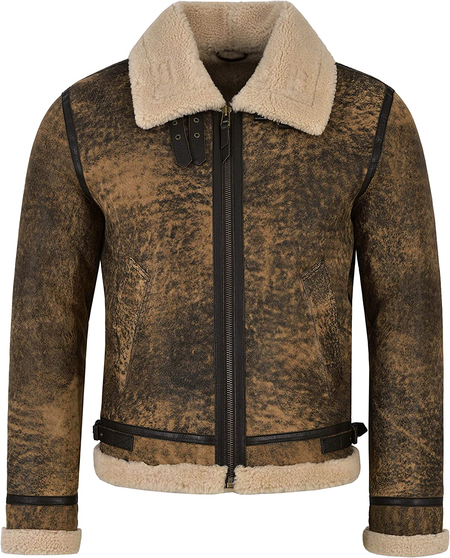 Men's B3 Fur Shearling Sheepskin Leather Jacket Vintage Rust Wood Jungle Effect Reagan