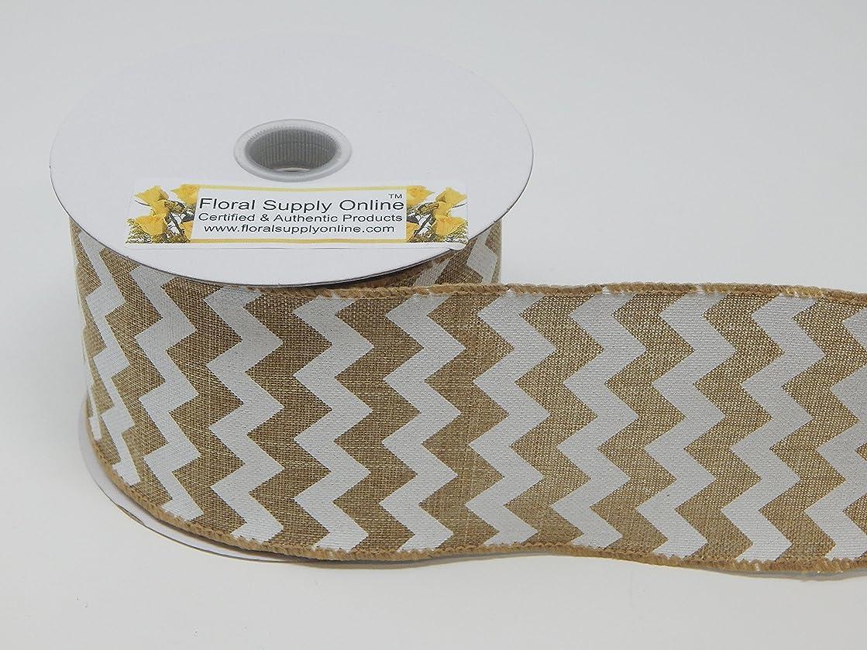 #40 Natural Chevron Canvas Wired Ribbon 2.5