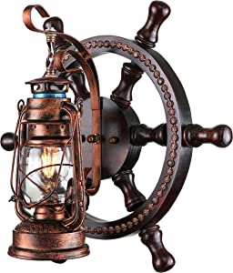 KWOKING Lighting Industrial Wall Mounted Light Creative Wood Wall Lamp Lights Sconces Fixture Nautical Style with Glass Clear Shade for Restaurant Bedroom Bar Cafe Rustic Lantern Wall Sconce