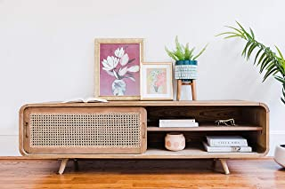 "Edloe Finch Small TV Stand Cabinet 63 inch, Cane Rattan Door, 63"" W x 18"" D x 18.5"" H, Teak Brown"