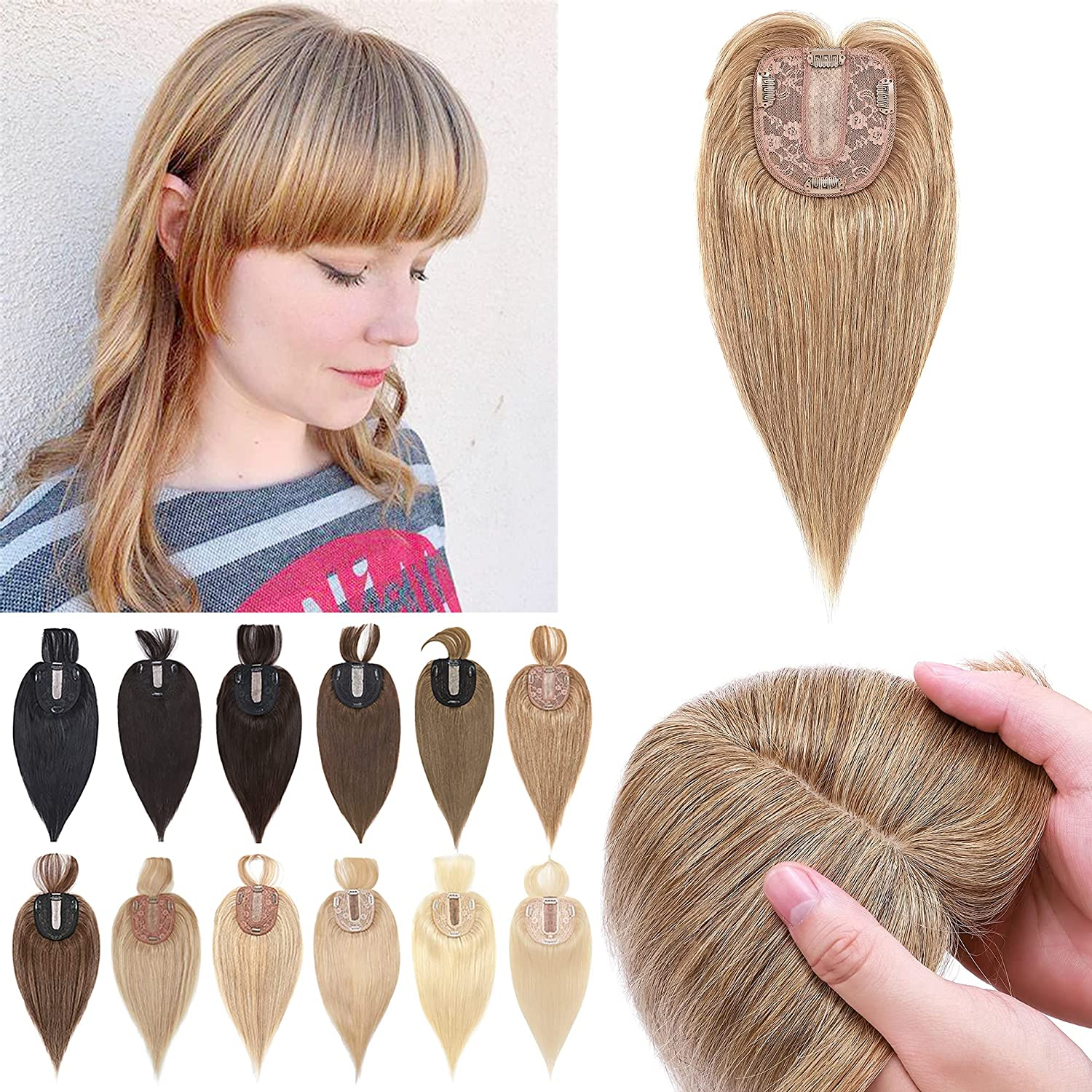 S-noilite 12Inch Blonde Clip 2021 new in Sale price with Top Wispy Hairpieces Bangs