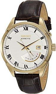 Seiko Kinetic SRN074 White Dial Brown Leather Band Men's Watch by Seiko Watches