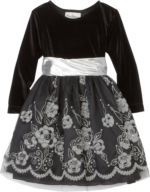 Rare Editions Little Girls' Floral Caviar Border Overlay Dress