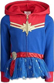 Captain Marvel Girls Zip Up Fleece Costume Hoodie with Ruffle Superhero Cosplay