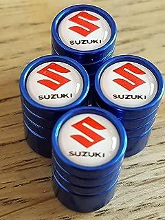 SUZUKI rouge blanc chrome haut luxe Bouchons de valve enjoliveurs EXCLUSIVE de nous tous mod/èles CLERIO SWIFT JIMMY VITARA SX4 S-CROSS Capuchon de valve