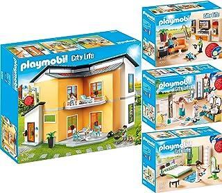 Playmobil City Life Set En 4 Parties 9266 9267 9268 9271 Maison Moderne +  Salon équipé