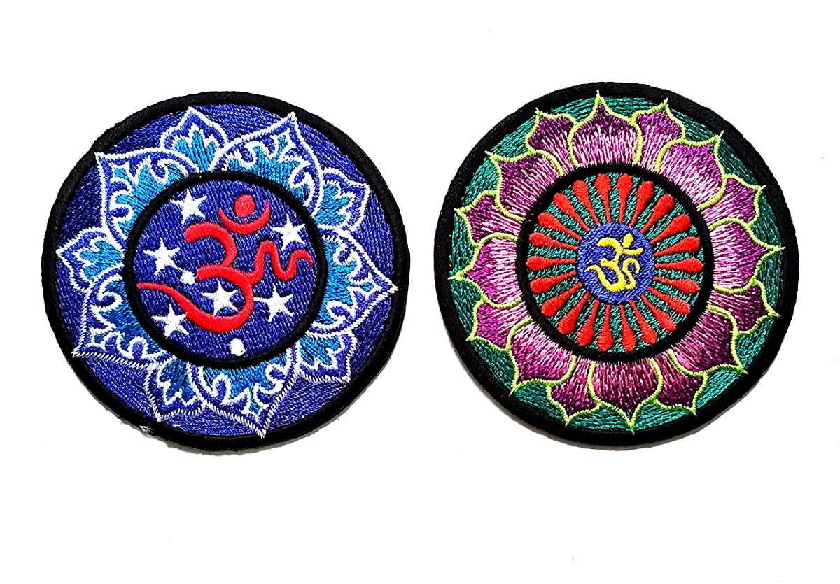 Nipitshop Patches Set 2 Blue Green Patch Hindu aum om Lotus Hindi Indian Yoga Peace Trance Embroidered Applique Iron-on Patch for Clothes Backpacks T-Shirt Jeans Skirt Vests Scarf Hat Bag