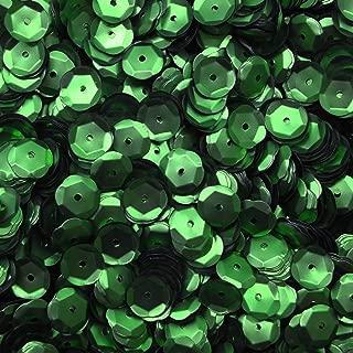 10mm Cup Sequins Green Matte Metallic Medium Hole Made in USA