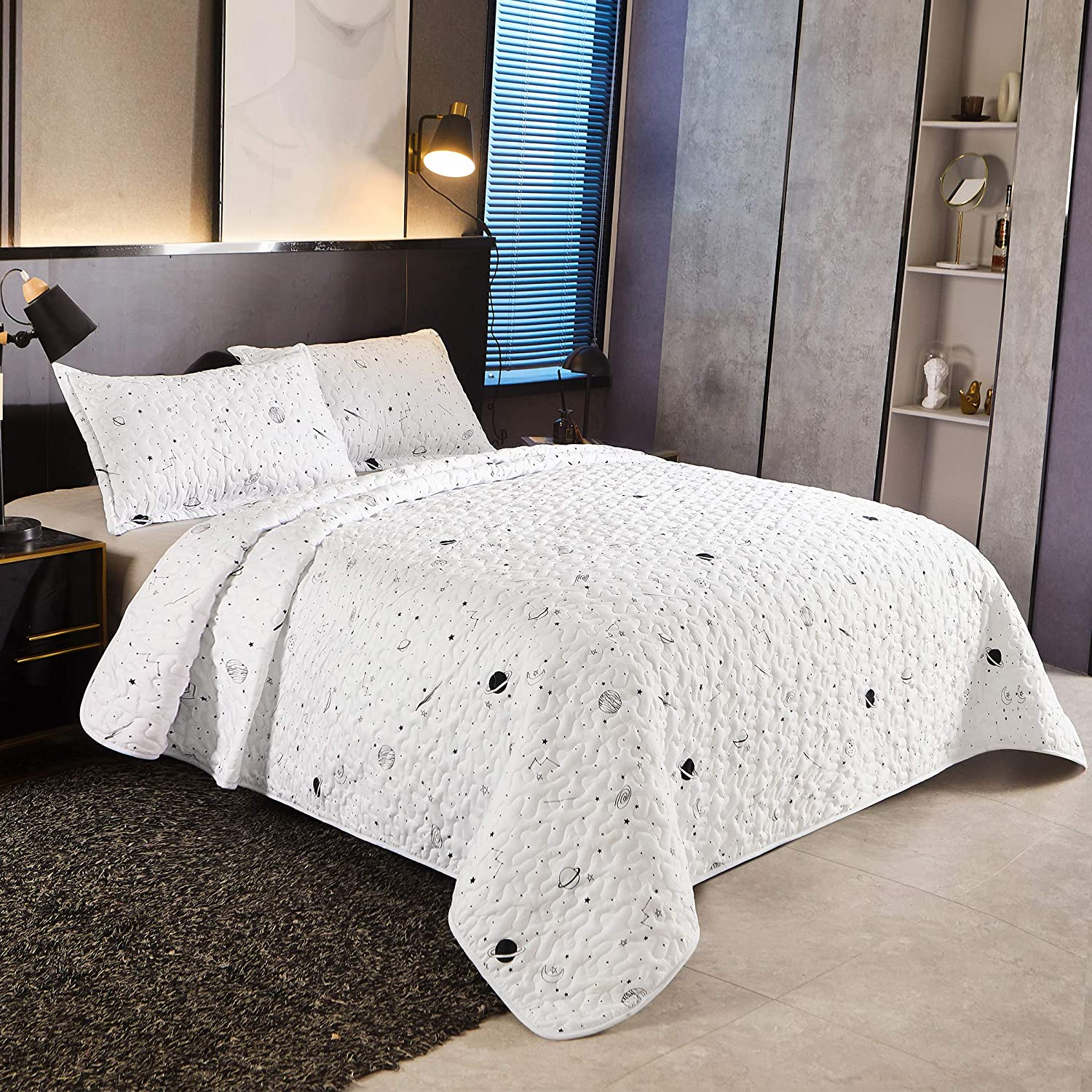 LAMEJOR Galaxy Quilt Dallas Mall Set Queen Popular product Planet Comforte Size Star Pattern
