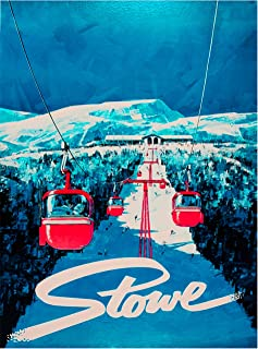 A SLICE IN TIME Stowe Vermont ski Snow Winter Sports Gondolas Vintage United States of America Travel Home Collectible Wall Decor Adventure Advertisement Art Poster Print. Measures 10 x 13.5 inches