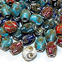 Bead Jewelry Making Assorted Color 20mm Barrel Embellished Indonesia-Style Focal Beads 10pc