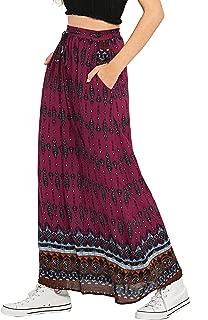 Milumia Falda Maxi con Bolsillos con Estampado clásico para Mujer