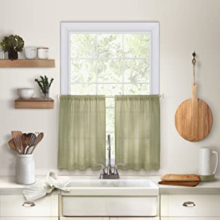 "Elrene Home Fashions 026865775396 Solid Hemstitched Rod Pocket Cafe/Kitchen Tier Window Curtain, Set of 2, 30"" x 36"", Sage"