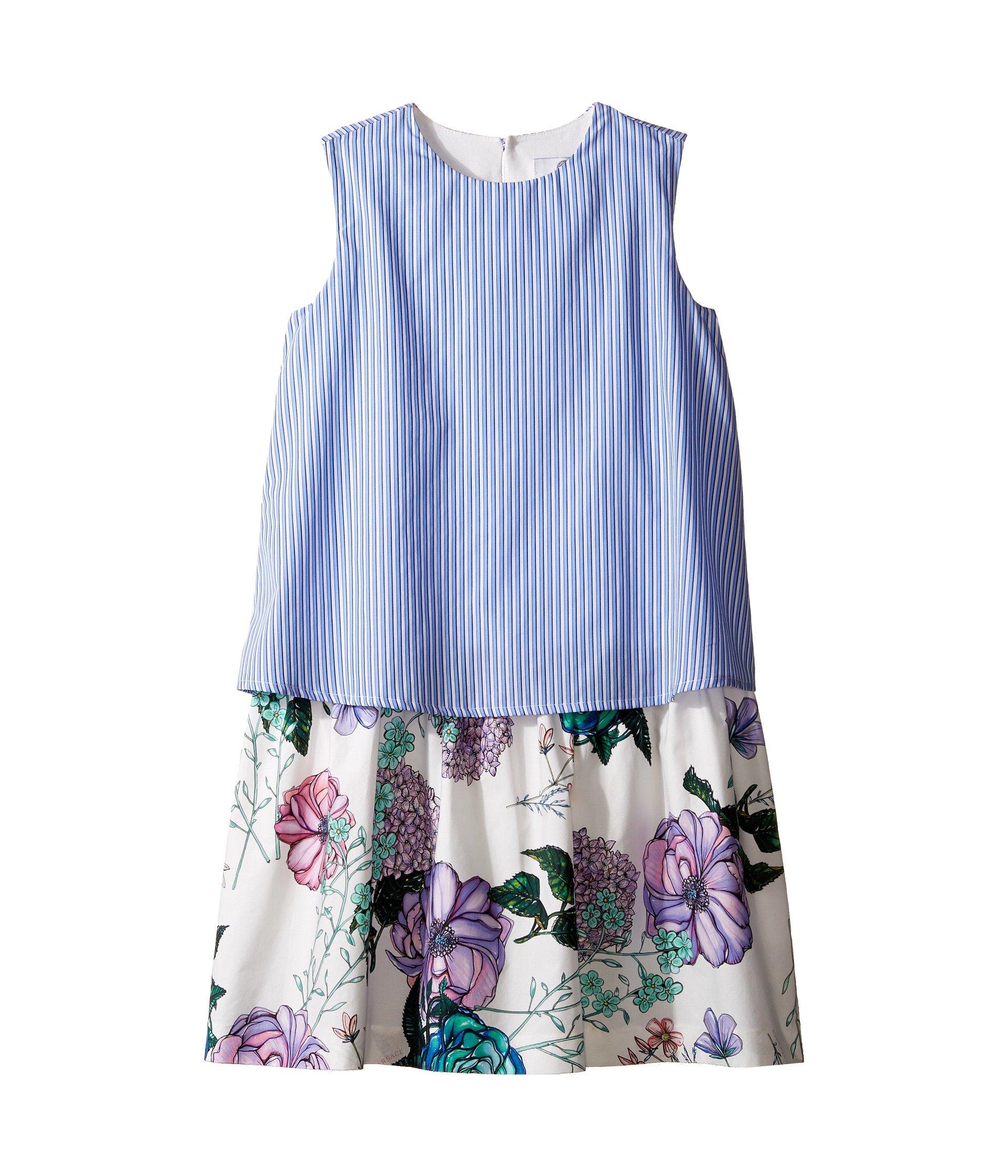 Vestido para Niña Versace Kids Layered Striped and Floral Print Dress (Big Kids)  + Versace en VeoyCompro.net