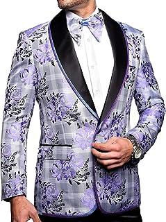 131f6773318a Mens Luxury Lavender Plaid Floral Dress Blazer Suit Jacket Slim Fit One  Button w Bow Tie