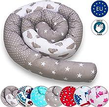 Cojín para Cuna 210cm Bebé Parachoques Rollo Antialérgico Algodón Vivero Serpiente Lumbar Nido Protector Rollo de cama (Patrón de cielo, 210 cm)