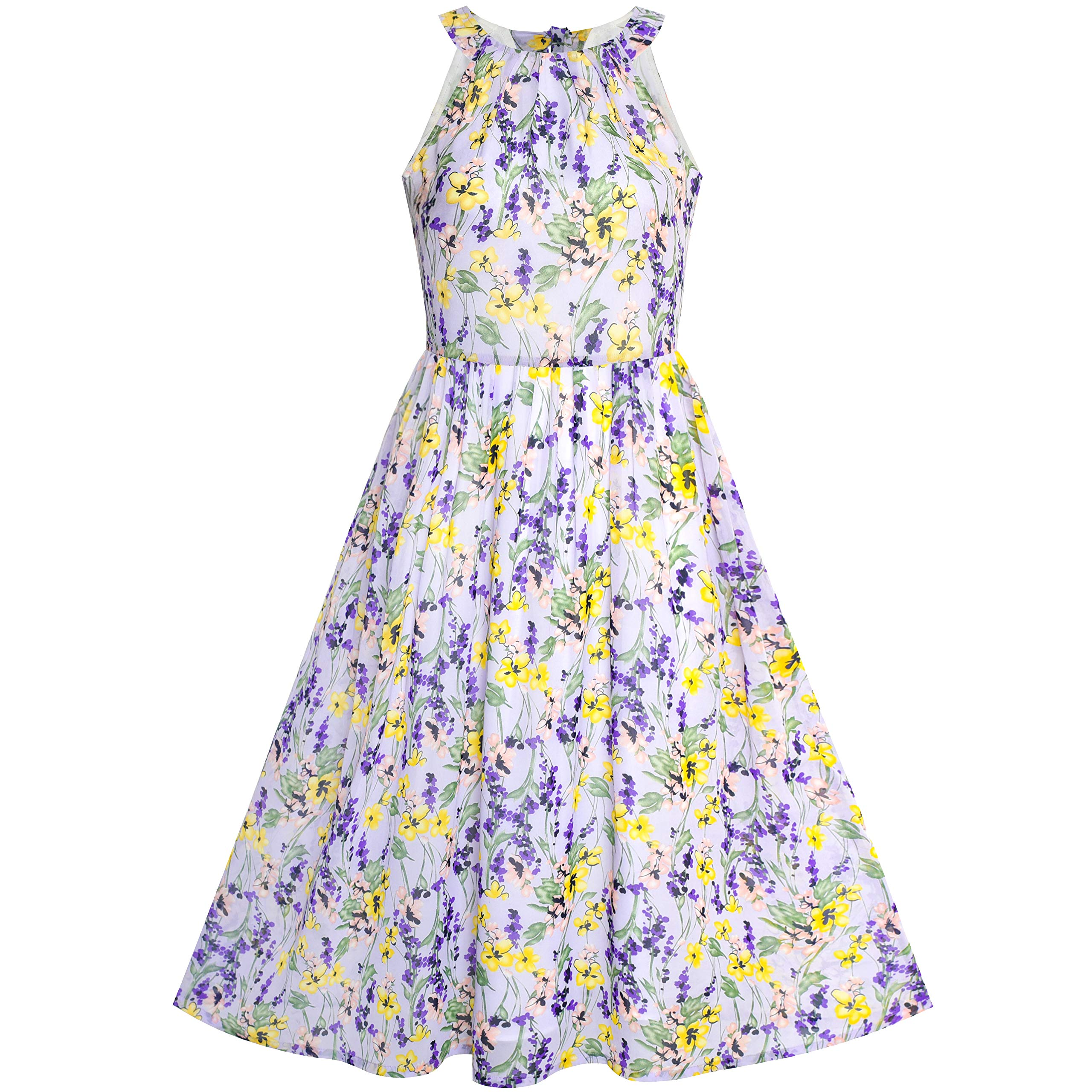Available at Amazon: Sunny Fashion Women's Halter Purple Floral Printed Maxi Casual Party Dress